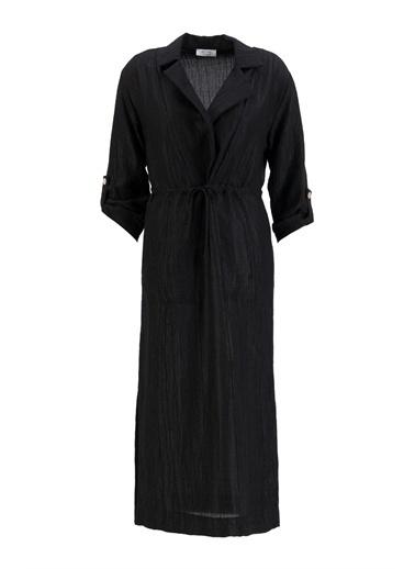 Setre Siyah V Yaka Beli Büzgülü Elbise Siyah